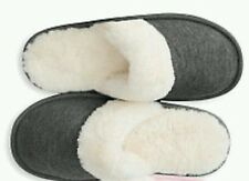 New! Victoria's Secret Faux Fur Slippers Black Size Medium 7-8