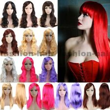 Fancy Disco Long Cosplay Hair Wig Women Straight Wavy Wig With Bangs Synthetic g