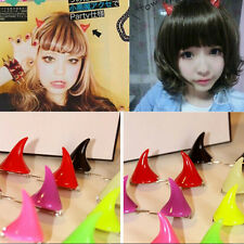 2X Horror Gothic Cosplay Costume Small Demon OX Horn Halloween Hair Clip Pin SN