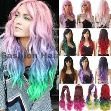 Ombre Cosplay Hair Wig Long Curly Straight Full Wig Party Costume Women Female #