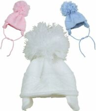 BabyPrem Baby Hats Winter Wooley Pom Pom Hat with Ear Flaps 0 - 6 months