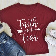 Womens Fashion Faith Over Fear T-Shirts Loose Casual Batwing Tops Shirt