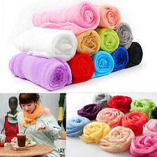 Women Candy Color Long Soft Silk Chiffon Neck Scarf Wrap Shawl Scarves 1.5M SN