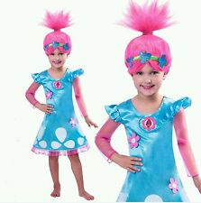 Girls Cosplay Trolls Poppy Troll Fancy Dress Costume & Wig Child Kids Outfit Set