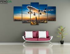 5Panel Airplane Sunset Painting Wall Poster Picture Modern Canvas Art Home Decor