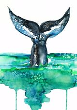 Art Print Poster / Canvas Whale Tail watercolor