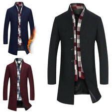 Mens Wool Blend Trench Coat Slim Fit Peacoat Overcoat Long Stand Collar Jackets