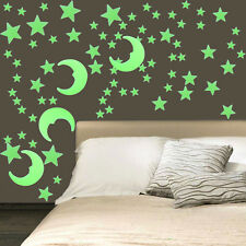 Wall Glow In The Dark Moon Stars Stickers Kids Bedroom Nursery Room Decorate