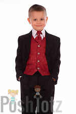 Baby Boys, Pageboy, Formal Suit Wedding 5pc Wine & Black Suits (0-3mths-15yrs)