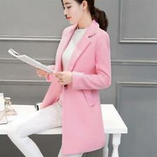 Womens Lapel Collar Button Jacket Slim Wool Blend Coat Trench Overcoat Outwear !