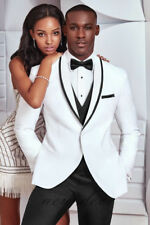 New White Fit  Men's Tuxedos Suits 3 Pieces Groom Party Work Suits Custom 2017