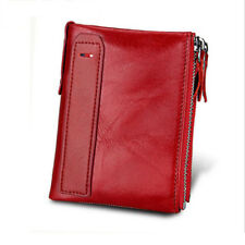 Solid Red Color Women Genuine Leather Wallet  Bifold Credit Card Holder Purse
