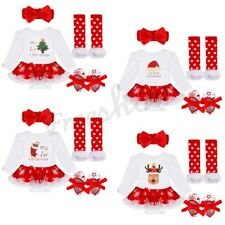 Infant Newborn Baby Girl Christmas Santa Romper Fancy Tutu Dress Outfit Clothes