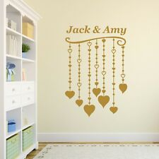 Personalised Hearts Vinyl Wall Art Sticker, Mural, Decal - Any Name