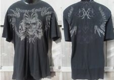 """AFFLICTION Xtreme Couture XXL """"OUTCAST"""" Tri Skull Winged T SHIRT 2XL UFC Tee"""