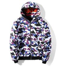 Unisex Classic Bape Shark Jaw 11th Anniversary Design Two-Wear Hoodie Ape Jacket