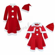 2Pcs Baby Girl Toddler Christmas Xmas Santa Claus Dress Costumes Outfits Set Hat