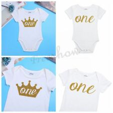 Newborn Infant Baby Boy Girl Short Sleeves Birthday Romper Bodysuit Outfit Cloth