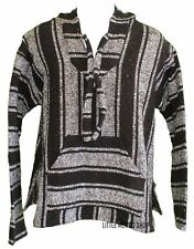 X-LARGE Mexican BAJA HOODIE - GRAY/BLACK - Mexican PONCHO Sweater Surfer