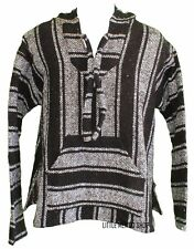XXL Mexican BAJA HOODIE - GRAY/BLACK #1 - Mexican PONCHO Sweater Surfer