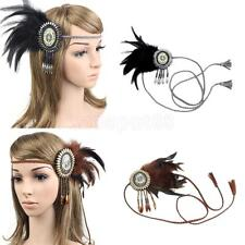 Bohemia Braided Rope Feather Headband Indian Hippie Woman Costume Headpieces