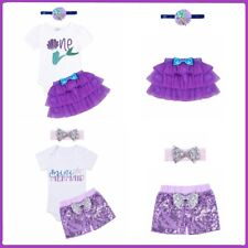 Infant Baby Girl Mermaid Outfit Short Sleeve Romper Tutu Skirt Cake Headband Set