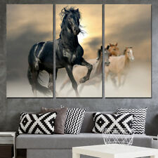 Black Horse Animal  Painting Modern Poster Picture Canvas Wall Art Home Decor