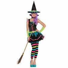 Teen Rainbow Neon Witch Fancy Dress Halloween Costume Tights Hat Gloves Academy