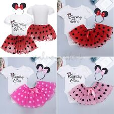 Birthday Girl Baby Kids Minnie Mouse Tutu Skirt Dress Outfits Party Clothes Sets