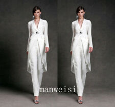 New White Mother of the Bride Pant Suit Formal Evening Party Gown Chiffon Custom