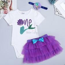 Three piece Baby Girls Mermaid Birthday Party  Tutu Dress Outfit Toddler Clothes