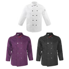 Double Breasted Long Sleeve Chef Jacket Coat Cook Hotel Uniform for Men Women