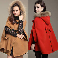 Fashion Women's Casual Winter Hooded Poncho Cape Outwear Shawl Coat Jacket Cloak