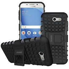 Samsung Galaxy J3 2017 Case Tough Rugged Dual Layer Case with Kickstand Black
