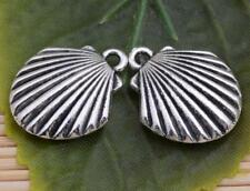 Wholesale Tibetan silver two-sided shell charms pendant craft 18x15mm #C5374