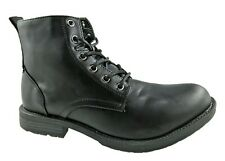 MENS LIBERTO FAUX LEATHER COMBAT 6 EYELET ANKLE BOOTS BLACK SIZE UK 6-12