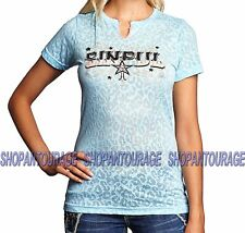 Sinful St. Lusia S3410 Women`s New Blue Burnout Tee By Affliction