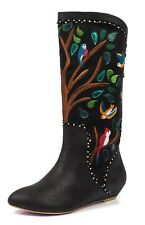 Irregular Choice NEW Septima black floral bird embroidered calf boots sizes 3-9