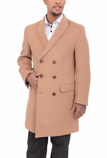 Mens Solid Camel Tan 3/4 Length Double Breasted Wool Blend Overcoat Top Coat