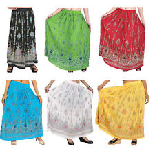 Long Skirt Print Flower Embroidered Sequins India Boho Elastic Waist Up To 40""