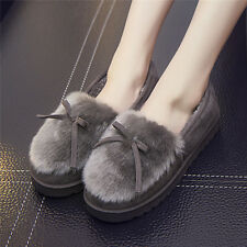 Winter Women Bowknot House Indoor Slippers Soft Faux Fur Home Slip-on Shoes Good