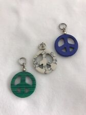 "Peace Sign 1"" Round Pendants Blue Green White Charms"
