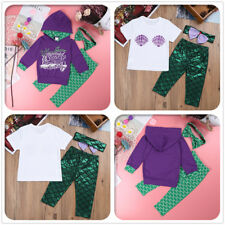 Kids Baby Girls Little Mermaid Fancy Costume Toddler Hoodie Shirt Party Clothes