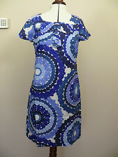 Boden Twiggy linen shift dress Blue/White 70's print Bow front detail 10R or 10L