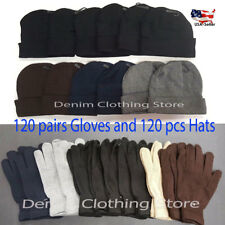 120pcs Beanie 120pair Gloves Assorted Color Warm Knit Winter Hats Wholesale Lot