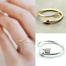 Women Girl Rings Gold Silver Adjustable Arrow Open Knuckle Ring Jewelry、New