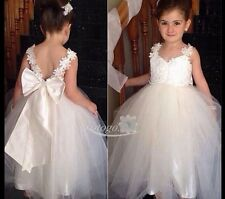 Kid Lace Tulle Flower Girl Dress Wedding Prom Junior Bridesmaid Pageant Princess