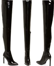 JEFFREY CAMPBELL Sherise Black Patent Over Knee Thigh High Pointed Stiletto Boot