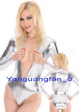 Silver Shiny Lycra Metallic Body Suit Catsuit Costumes Sexy Short Body Suit F025