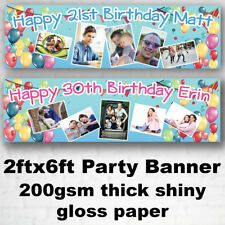 Large Personalised Birthday Banner Photo Balloon Star 18th 30th Party 2ftx6ft